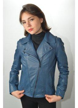 Blouson Cuir Femme GIORGIO LOVELY Bleu