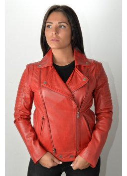 Blouson Cuir Femme GIOVANNI TONIA Rouge