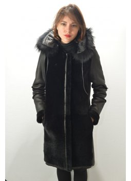 Manteau Peau Lainée Femme GIORGIO EDEN Noir