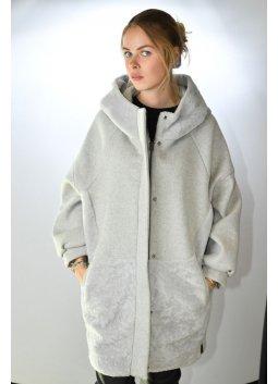 Manteau Peau Lainée Textile Femme GIORGIO CHRISTEN Gris