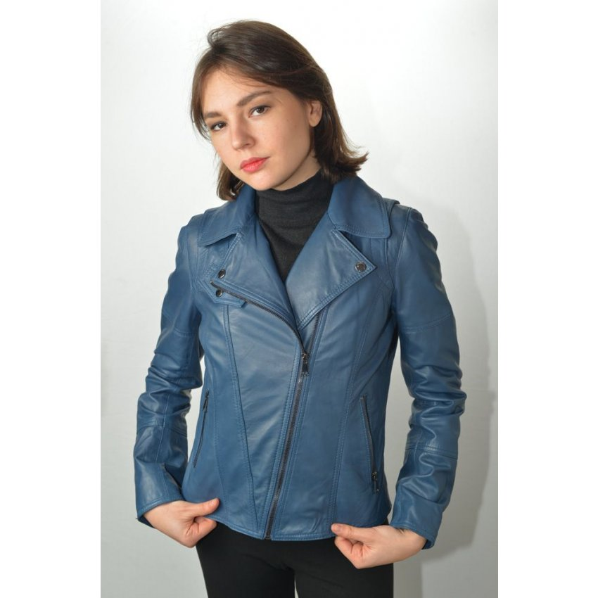 blouson cuir femme giorgio lovely bleu murphy cuir. Black Bedroom Furniture Sets. Home Design Ideas