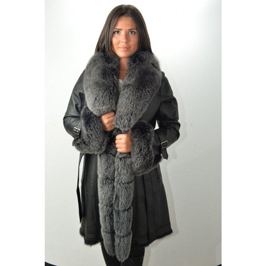 Manteau fourrure femme noire