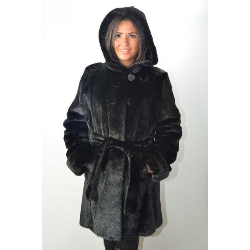 manteau fourrure femme stefania sarre oc914 noir murphy cuir. Black Bedroom Furniture Sets. Home Design Ideas
