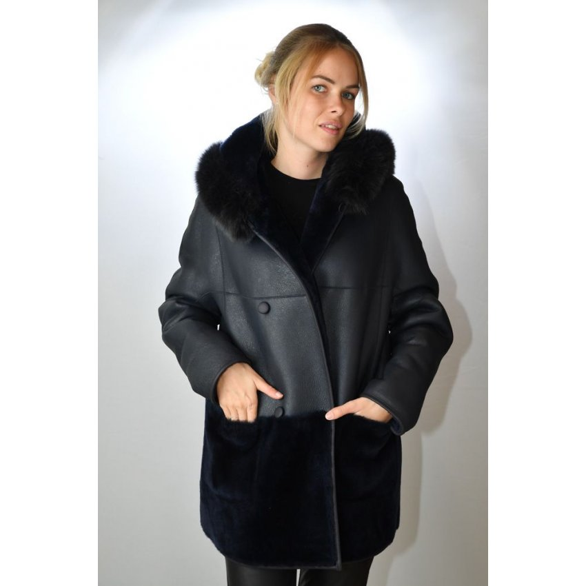 Manteau femme cuir peau lainee