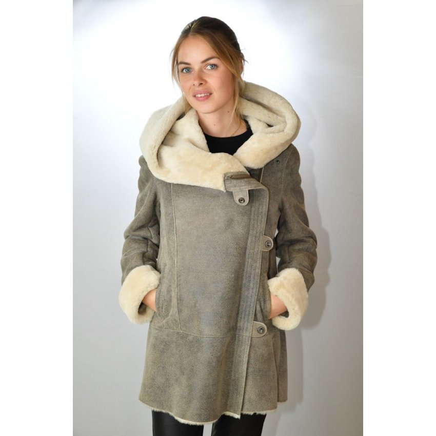 manteau peau laine femme golda 2060 antik murphy cuir. Black Bedroom Furniture Sets. Home Design Ideas
