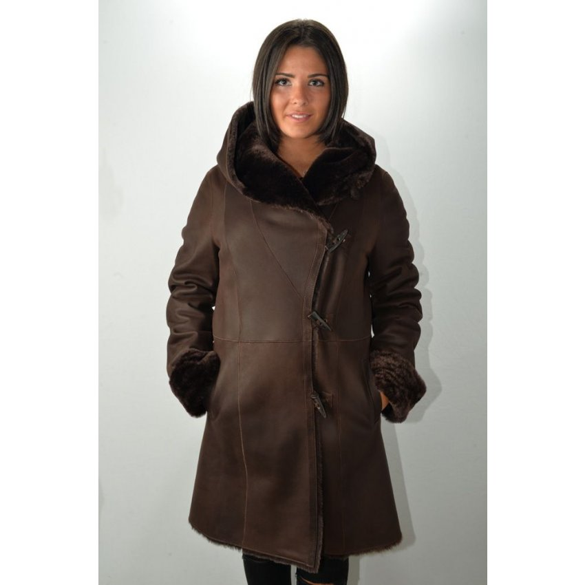 manteau peau laine femme murphy ia marron murphy cuir. Black Bedroom Furniture Sets. Home Design Ideas