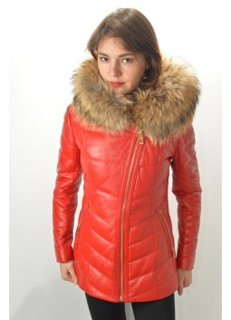 Doudoune Cuir GIOVANNI NATY Rouge