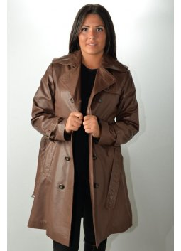 Manteau Trench Cuir Femme MURPHY TRENCH Marron