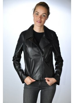 Blouson Cuir Femme GIORGIO LESLA Noir