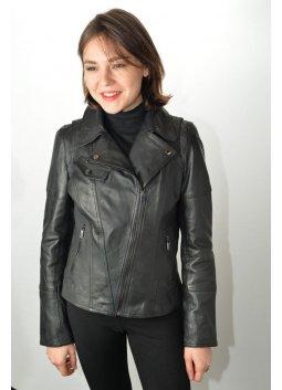 Blouson Cuir Femme GIORGIO LOVELY Noir