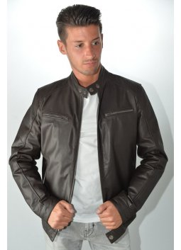 Blouson Cuir MURPHY DEAL Marron
