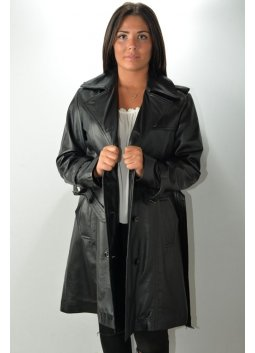 Manteau Trench Cuir Femme MURPHY TRENCH Noir