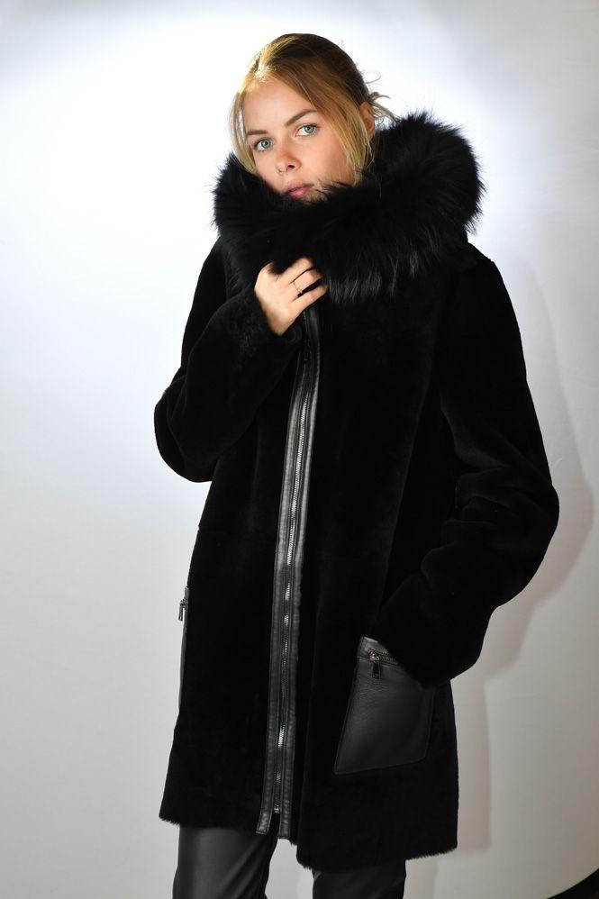 manteau peau lain e femme giorgio ariana noir murphy cuir. Black Bedroom Furniture Sets. Home Design Ideas