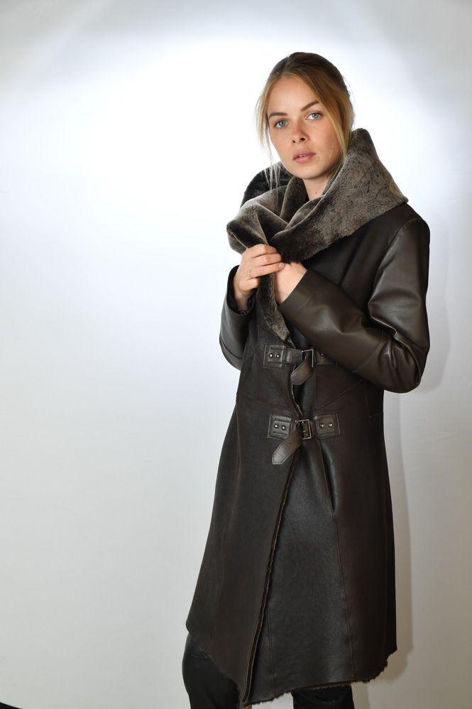 manteau peau laine femme giorgio madelina marron murphy cuir. Black Bedroom Furniture Sets. Home Design Ideas