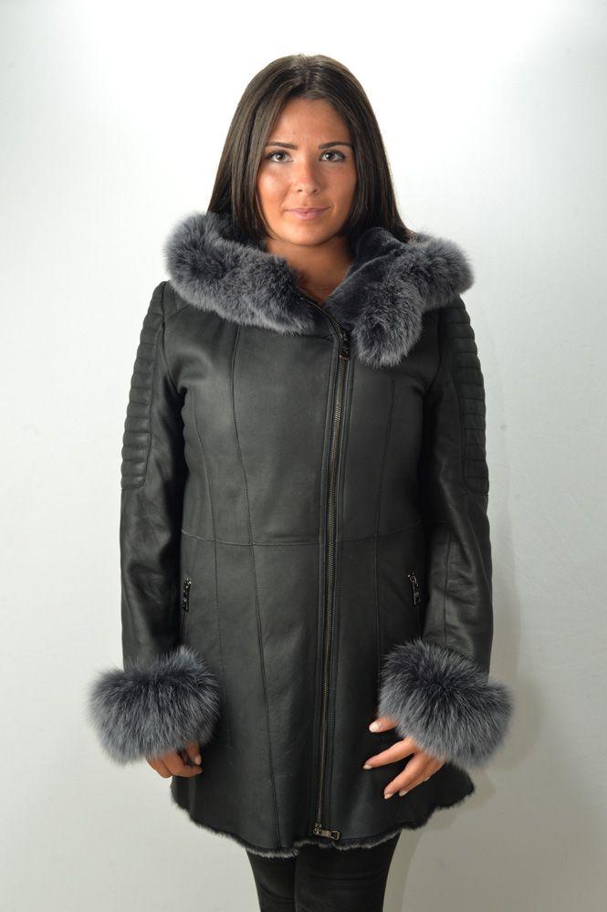 manteau peau lain e femme giovanni enora noir murphy cuir. Black Bedroom Furniture Sets. Home Design Ideas