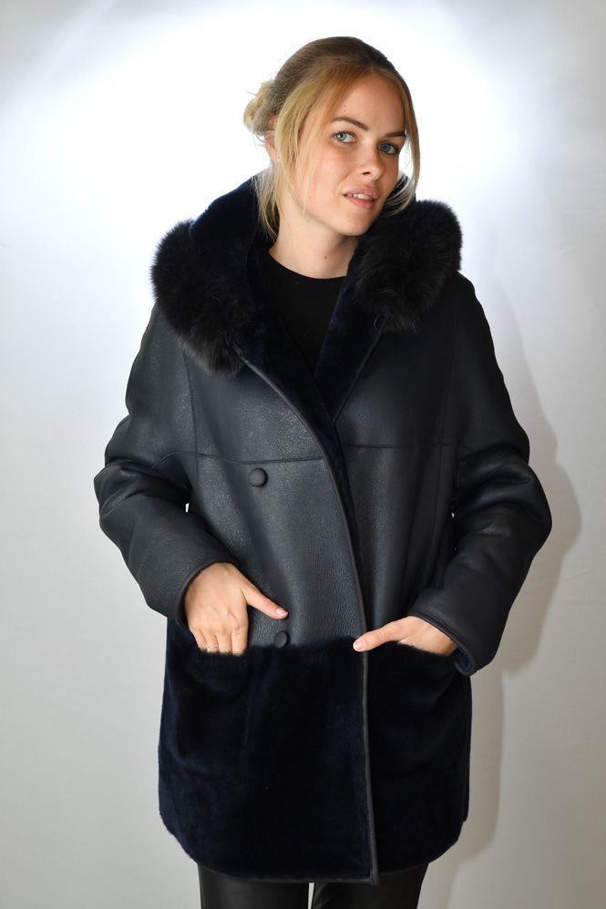 manteau peau lain e femme giovanni lisa marine murphy cuir. Black Bedroom Furniture Sets. Home Design Ideas