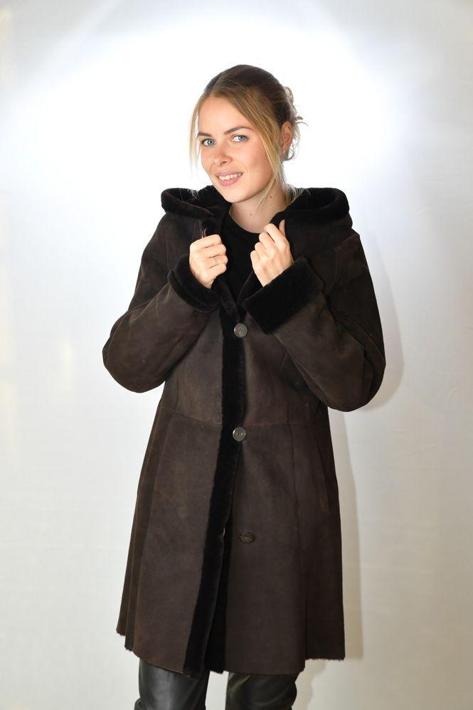 manteau peau lain e femme stefania sarre oc448 marron. Black Bedroom Furniture Sets. Home Design Ideas