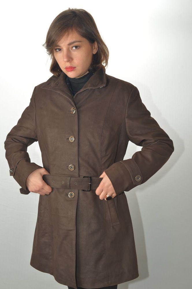 6d1e34ecc9d5 Manteau Trench Cuir Femme MURPHY LINA Marron - Murphy Cuir