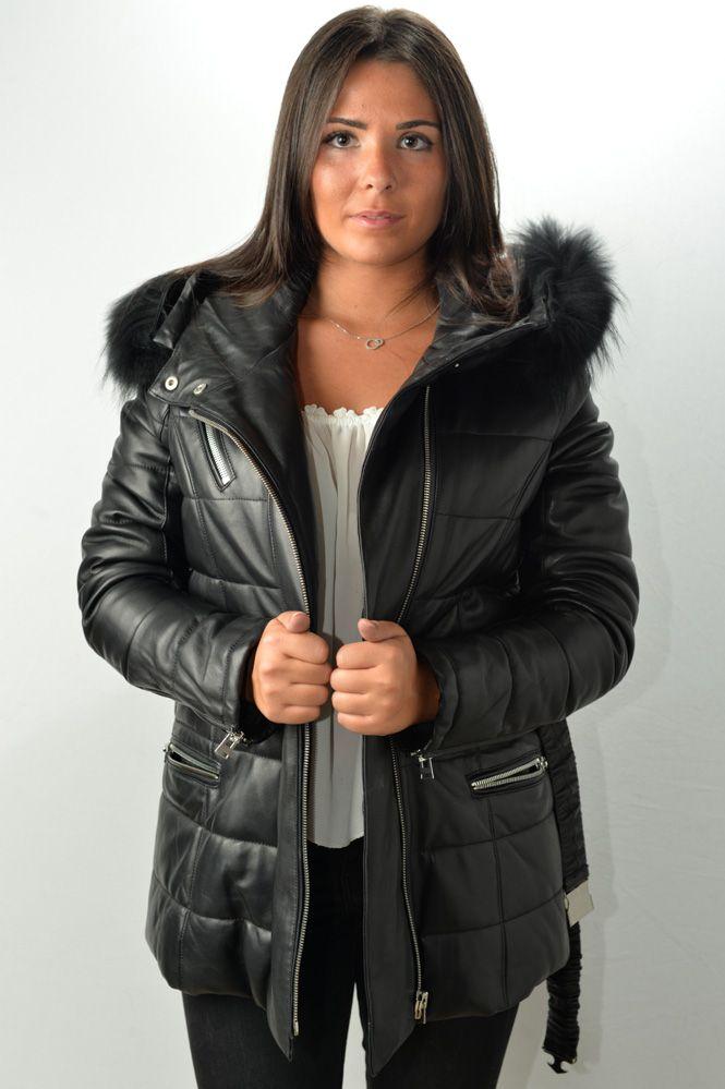 veste 3 4 cuir femme giorgio gena noir murphy cuir. Black Bedroom Furniture Sets. Home Design Ideas