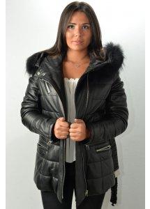 Veste 3/4 Cuir Femme GIORGIO GENA Noir