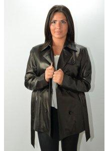 Veste 3/4 Cuir Femme MAC DOUGLAS BASY Noir