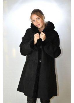 Manteau Peau Lainée Femme STEFANIA SARRE OC448 Noir