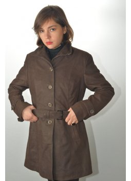 Manteau Trench Cuir Femme MURPHY LINA Marron