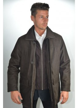 Veste 3/4 Cuir Homme MURPHY BARRY Marron